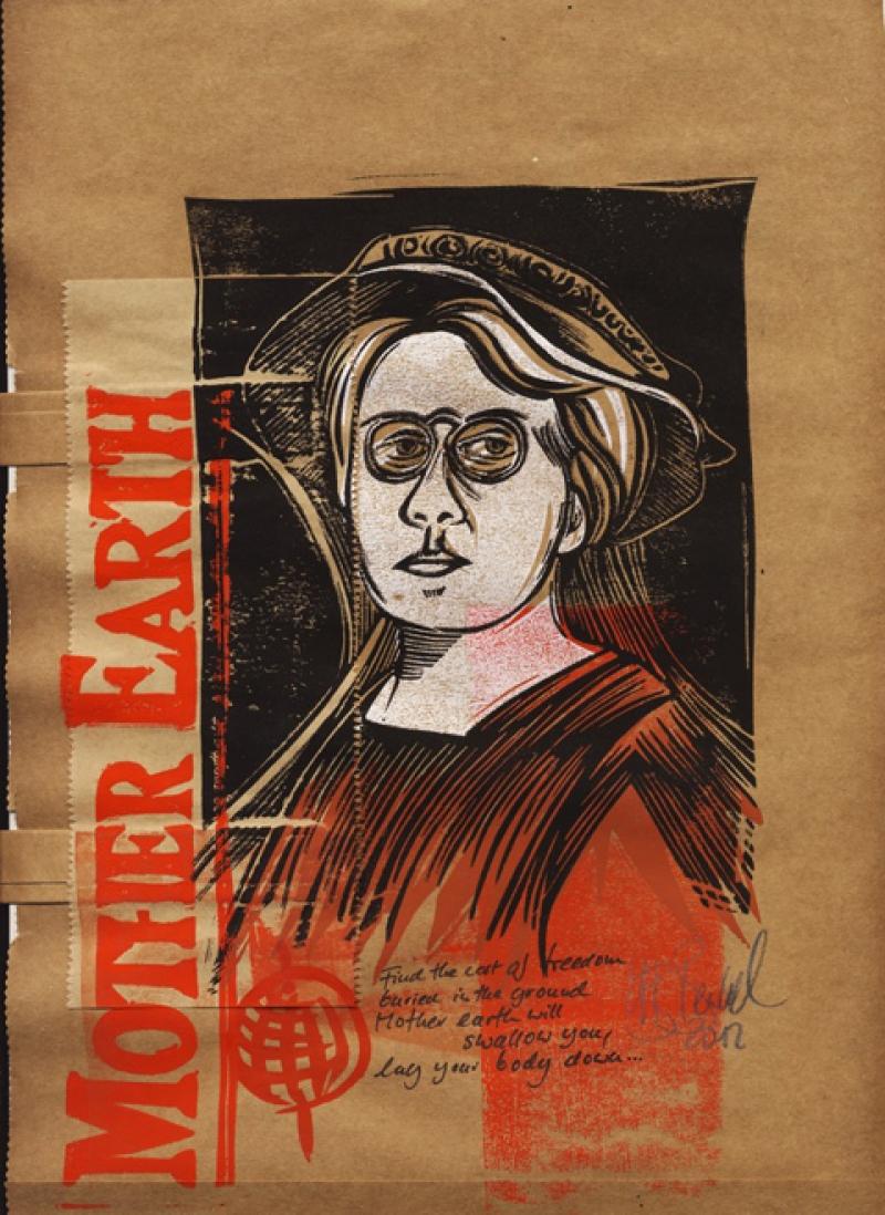 Emma Goldman - Farblinolschnitt 3/4