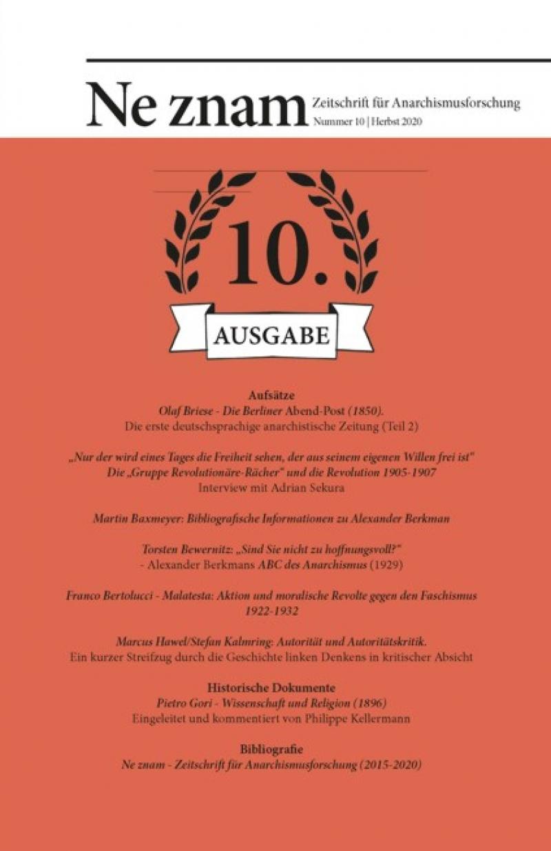 Ne znam - Zeitschrift für Anarchismusforschung, Nr. 10