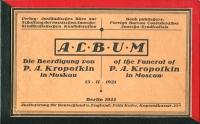 Album - Die Beerdigung von P. A. Kropotkin in Moskau