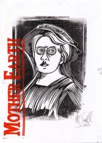 Emma Goldman - Farblinolschnitt 4/4